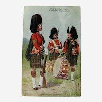 The Queens Own Cameron Highlanders / Sergeant and Drummers / Valentine & Son / Vintage Ephemera