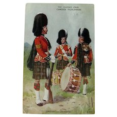 The Queens Own Cameron Highlanders / Sergeant and Drummers / Valentine & Son / Vintage Ephemera