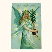 Angel Holding Small Tree / Merry Christmas Postcard / Holiday Card / Vintage Ephemera
