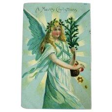 Angel Holding Small Tree / Merry Christmas Postcard / Holiday Card / Vintage Ephemera