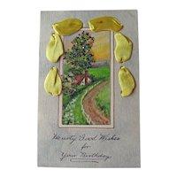Birthday Postcard / Coralene and Glitter / Yellow Ribbon / Vintage Ephemera