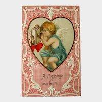 Valentine's Day Postcard / Cherub on Telephone / Lace Background / Vintage Ephemera