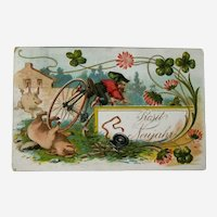Happy New Year Postcard / German Postcard / Gnome on Bicycle / Pigs and Four Leaf Clover / Vintage Ephemera