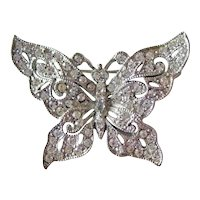 Vintage Hedy Butterfly Pin / Rhinestone Butterfly / Pave Set Stones / Designer Costume  Jewelry