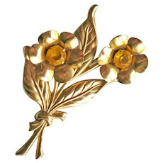 Vintage 1940s Flower Pin / Gold-tone Flower Pin / Collectible Jewellery