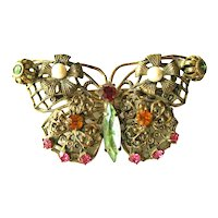 Vintage Butterfly Pin / Butterfly Brooch / Czech Style Butterfly / Collectible Costume Jewelry