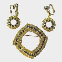 Vintage Square Rhinestone Pin / Dangle Clip Earrings / Demi Parure / Vintage Costume Jewellery