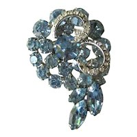 Blue Rhinestone Weiss Pin /  Vintage Costume Jewelry / Designer Jewellery / Collectible Pins