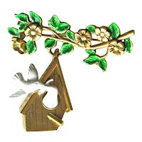 Danecraft Birdhouse Pin / Bird Pin / Dangle Pin / Vintage Brooch