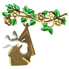 Danecraft Birdhouse Pin / Bird Pin / Dangle Pin / Vintage Brooch