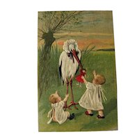 Unused Babies with Stork Postcard / Vintage Postcard / Paper Ephemera