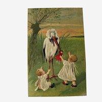 Unused Babies with Stork Postcard / Vintage Postcard / Paper Ephemera
