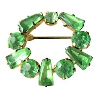 Czech Green Rhinestone Pin - Small Circle Pin - Collectible Brooch - Signed Brooch - Costume Jewelry