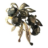 Vermeil Pin with  Smoky Topaz Stones - Pin Marked Silver - Collectible Jewellery - Vintage Brooch