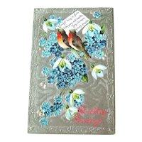 Vintage Birthday Postcard - Birthday Greeting - Forget Me Not and Stephanotis Flowers - Vintage Ephemera