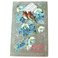 Vintage Birthday Postcard - Birthday Greeting - Forget Me Not and Stephanotis Flowers - Vintage Ephemera