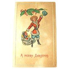 RARE Mrs. Santa Claus- Lady Santa - Bag of Toys - Mistletoe Decoration - Unused Postcard - Holiday Decor