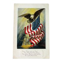 American Flag and Bald Eagle Postcard - American Eagle - Patriotic Card - Collectible Postcard