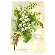 Vintage Birthday Greetings Postcard - Lily of the Valley - C Klein Art - Artist Signed - Collectible Postcard