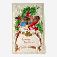 Vintage Merry Christmas Postcard - Air brushed Postcard with Flocking - Bird Card - Vintage Ephemera
