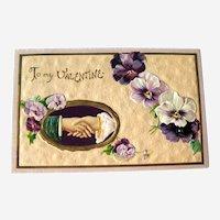 Vintage Valentine Postcard - Shaking Hands - Purple Pansies - Collectible Valentine's Day Postcard