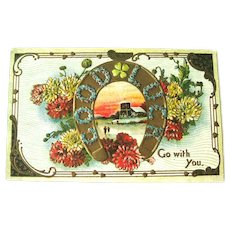 Vintage Good Luck Postcard - Good Luck Go With You - Horseshoe - Four Leaf Clover - Art Nouveau Design
