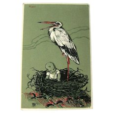 Unused Baby in Nest with Stork Postcard / Vintage Postcard / Paper Ephemera