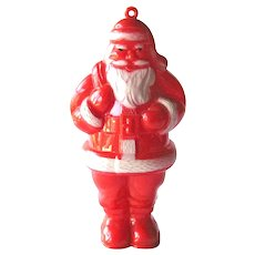 Vintage Santa Candy Container - Plastic Candy Container - Santa Ornament - Holiday Collectible
