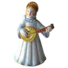 Russian Angel Bell - Angel Playing Mandolin - Holiday Decor - Christmas Angel
