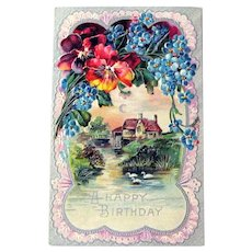Vintage Unused Birthday Postcard - A Happy Birthday - Country Scene - Water Scene Swans