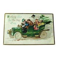 Ellen Clapsaddle St Patrick's Day Postcard - Crazy Car Driving - Designer Signed Postcard