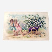 Vintage Postcard Two Cherubs Pulling Cart - Cart of Lily of the Valley - TC Co Postcard - Collectible Postcard