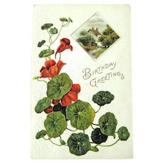 Unused Vintage Birthday Card - Birthday Greetings - Country Scene - Collectible Postcard