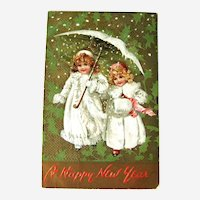 Vintage Tuck Postcard Girls Dressed in White - Snow Babies - New Year Postcard