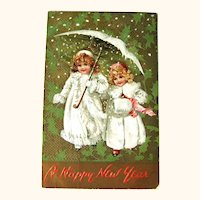 Vintage Tuck Postcard Girls Dressed in White - Snow Babies - New Year Postcard