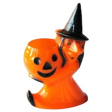 Vintage Halloween Witch Candy Container - Rosbro Plastics - Witch and Jack-O-Lantern - Halloween