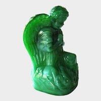 Boyd Crystal Art Glass Angel / Moss Green / Angel Figurine / Elizabeth Degenhart / Holiday Angel