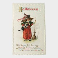 Vintage Unused Nash Halloween Postcard - Witch and Cat - Witch with Broom