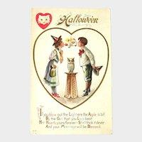 Vintage Unused Nash Halloween Postcard - Girl and Boy - Apple Game - Owl on Stand