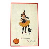 Frances Brundage Halloween Postcard -Young Girl Witch - Black Cat - Jack-O-Lantern