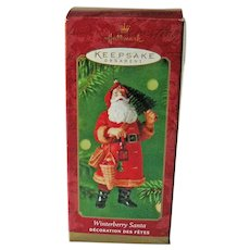 Winterberry Santa Hallmark Ornament - Dated 2000 Ornament - Collectible Santa - Holiday Decor