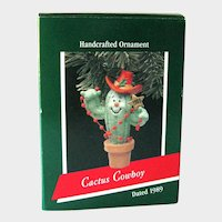 Cactus Cowboy Hallmark Ornament - Handcrafted 1989 - Christmas Ornament