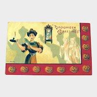 Vintage Halloween Postcard - E.C. Banks Postcard- Lady Seeing Ghosts - Jack-o-lanterns