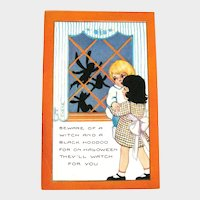 Unused Whitney Halloween Postcard - Boy and Girl - Shadows of Witches