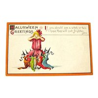 Rare Stecher Halloween Postcard - Unused Halloween Postcard - Witches Dancing