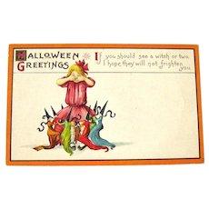 Rare Stecher Halloween Postcard - Unused Halloween Postcard - Witches Dancing