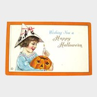 Unused Vintage Stecher Halloween Postcard - Girl with Jack-o-lantern - Girl with Paper Hat