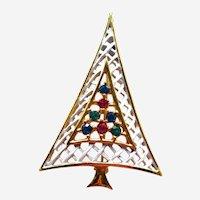 Vintage Unique Frosted Christmas Tree Pin - Lattice Tree Pin - Rhinestone Tree - Holiday Jewelry - Christmas Jewellery