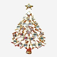 Lovely Vintage Frosted Christmas Tree Pin - Rhinestone Pin - Holiday Jewellery - Christmas Jewelry -