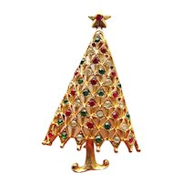 Lovely Mylu Christmas Tree Pin - Colorful Tree Pin - Holiday Jewellery - Christmas Jewelry